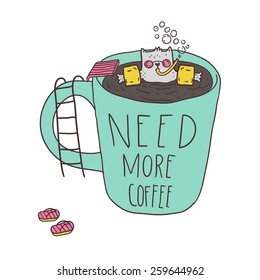 Funny cat swimming in the coffee mug