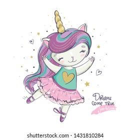 Funny cat unicorn illustration. Ballerina dancing in pink dress.