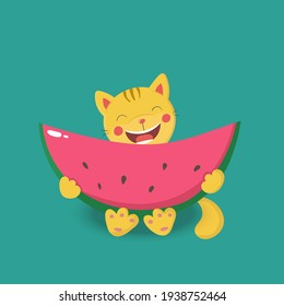 Funny cat with watermelon. Ideal for greeting cards, posters, invitations, stickers, books illustrations, banners, booklets, blogs, websites, print for clothes.