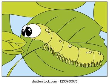 Funny caterpillar wants to eat a fresh leaf.  Digital illustration