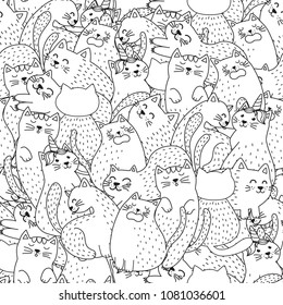 Funny cats black and white seamless pattern. Great for  coloring page, prints, backgrounds, textile and fabric. Vector illustration