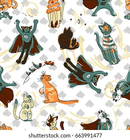 Funny cats. Children's textile pattern for printing on fabric. Vector Image. Limited color palette. Hand drawing