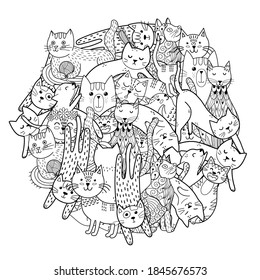 Funny cats in circle shape for print. Coloring page with feline characters. Doodle black and white print for coloring book. Vector illustration