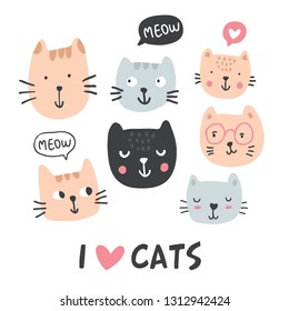 Funny cats collection. Pet vector illustration. Cartoon doodle animals images with i love cats sign. Cute kitten design for girls, kids. Hand drawn characters - Vector