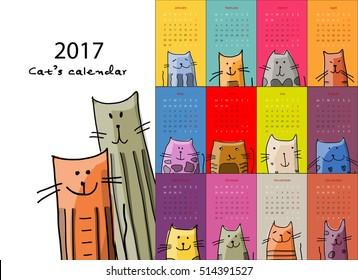 Funny cats. Design calendar 2017