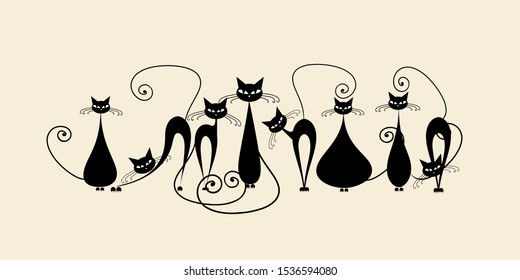 Funny cats family, black silhouette. Vector illustration