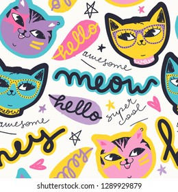 Funny cats pattern. Creative cartoon cats characters. Print for kids. Fashionable template for design. Vector illustration.