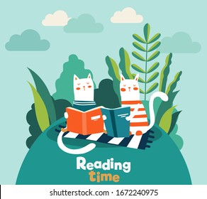 Funny cats reading books in the garden. Funny animal relaxing in park. Summer landscape background