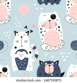 Funny Cats seamless pattern with cute cats and hearts. Feline background. Vector Illustration. Great for wallpaper, baby clothes, greeting card, wrapping paper. Pastel colors.