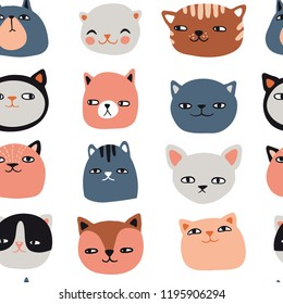 Funny cats seamless pattern. Pet vector illustration. Cartoon doodle animals background. Cute kitten design for girls, kids. Hand drawn children's pattern for fashion clothes, shirt, fabric