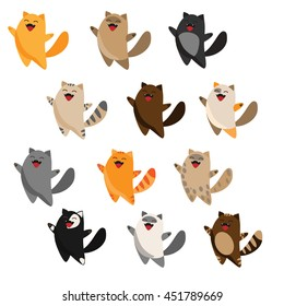 Funny cats set. Cute cartoon character. Different colors. Vector illustration isolated on white background.