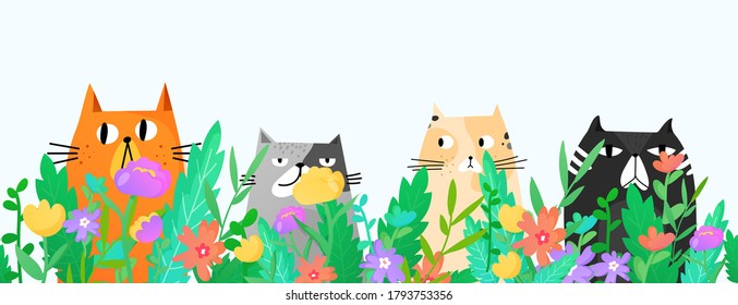 Funny cats sitting in the grass and flowers. Seamless border template. Pets vector background.