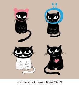 Funny cats. Vector illustration.