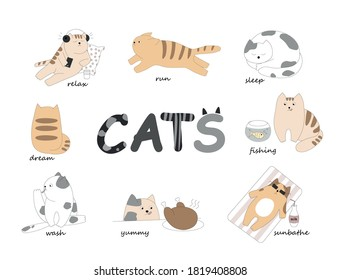 Funny cats of white, gray and orange colors. Animals have different emotions, actions. Bundle of adorable cats sleep, fish, sunbathe, hunt, eat yummy, listen to music, wash, run, relax.