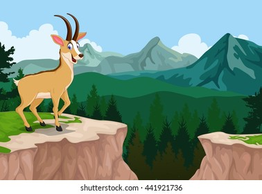 funny chamois cartoon with mountain cliff landscape background