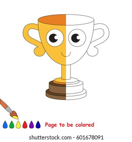 Funny Champion Trophy Cup, the coloring book to educate preschool kids with easy gaming level, the kid educational game to color the colorless half by sample.