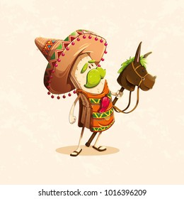 funny character based on the burrito, a typical Mexican food meal accompanied by a toy burrito and a typical Mexican hat, with a chili on the chest