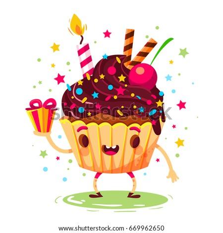 funny character birthday cake invitation card stock vector royalty