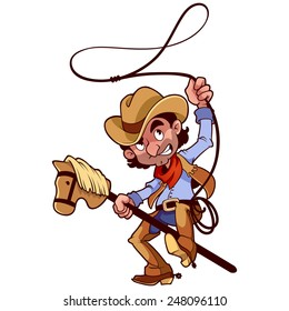 Funny character. Cowboy with lasso on a stick-horse. Vector clip-art illustration on a white background.