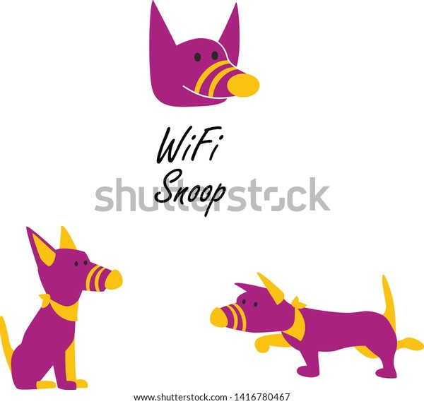 Funny Character Dog Sniffer Wifi Stock Vector (Royalty Free