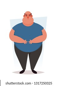 Funny Character. Fat Man Feeling Sick. Cartoon Style. Vector Illustration