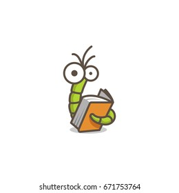 Funny character green worm reading an orange book