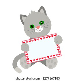 Funny character kitten holds in his paws a card with a place for your text. The concept of Valentine's Day, wedding, Valentine's Day. flat vector illustration isolate on white background - vector