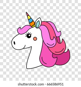 A funny character of the muzzle of a unicorn. Vector illustration isolated on a transparent background