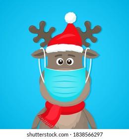 Der sonnige Charakter eines Polarkrebs in einer medizinischen Maske. Covid 19 Präventionskonzept. Weihnachten und Neujahr zu Hause bleiben. flache Vektorgrafik-Isolation