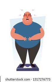 Funny Character. Shocked Fat Man Standing on Scales. Cartoon Style. Vector Illustration