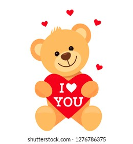 "Funny character Teddy holds in his paws a big heart with the words ""I love you."" The concept of Valentine's Day, wedding, Valentine's Day. flat vector illustration isolate on white background"