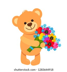 Funny character Teddy Teddy holds in his paws a bouquet of flowers from tulips. The concept of Valentine's Day, wedding, March 8, mother's day. flat vector illustration isolate on white background