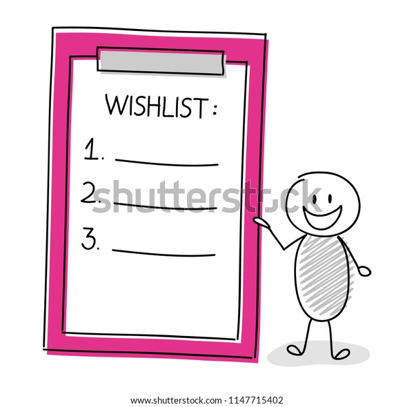 Funny character with wishlist. Vector