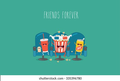Funny characters cola, ticket, popcorn and beer in the cinema