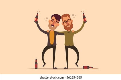 Funny Characters. Drunk Friends. Vector Illustration