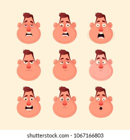 Funny Character's Emotions. Vector Set