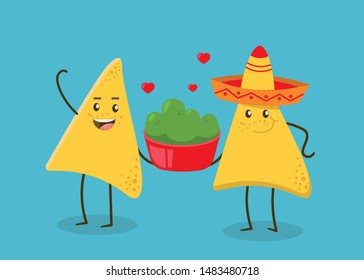 Funny characters Nachos with guacamole sauce. Nice Mexican food. Nachos chips in sombreros hats. Vector illustration.