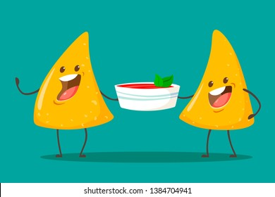 Funny characters Nachos with tomato salsa sauce. Nice mexican food. Vector illustration