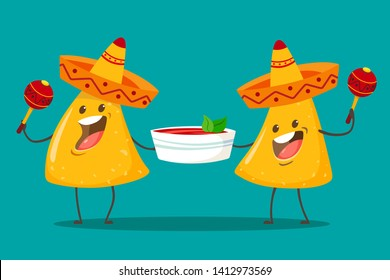 Funny characters Nachos with tomato salsa sauce. Nice mexican food.Nachos chips in sombreros and maracas hats. Vector illustration.