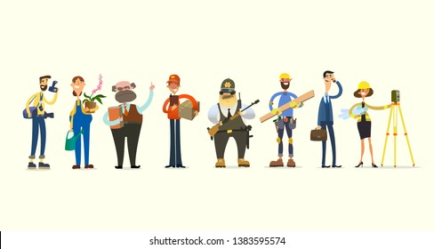Funny characters, representatives of different professions. vector illustration