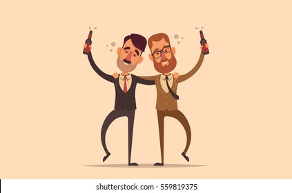 Funny Characters. Two Drunk Office Workers. Vector Illustration