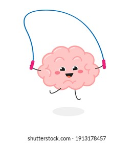 Funny cheerful kawaii brain playing jumping rope. Vector flat illustration isolated on white background
