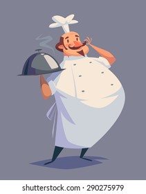 Funny chef character. Isolated vector illustration.