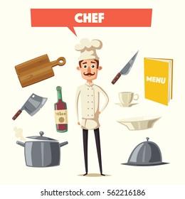 Funny chef, cute character. Vector cartoon illustration