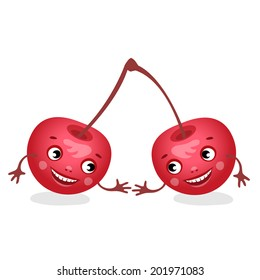 The funny cherries. Vector illustration.