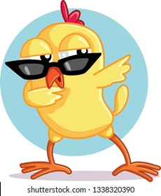 Funny Chick Dabbing Vector Cartoon. Cute baby chicken wearing cool, sunglasses and dancing