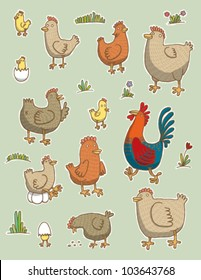 Funny chicken set. vector
