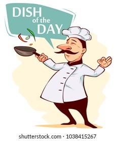 Funny chief-cooker. Poster, card. Element design for banner, flyer or menu. Vector illustration.