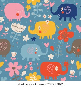 Funny childish elephants in flowers. Cute seamless pattern for nice backgrounds