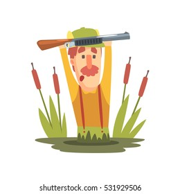 Funny Childish Hunter Character With Moustache Going Through The Swamp. Cartoon Vector Illustration